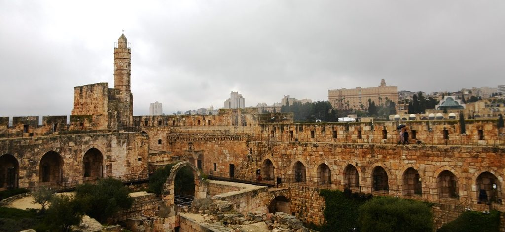 Winter day at the Tower of David in Jerusalem Israel