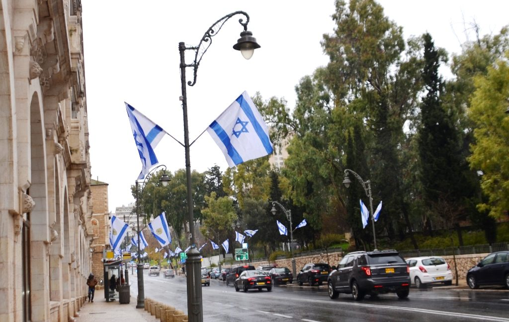 Israeli flags on Jerusalem Israel street