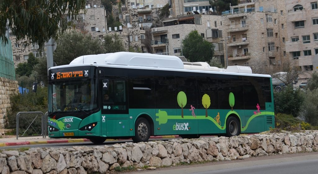 Electric bus on Jerusalem Israel streets