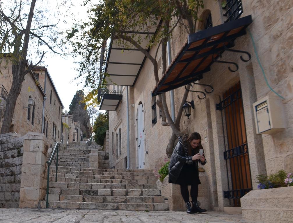 Yemin Moshe Jerusalem Israel young woman taking a photo