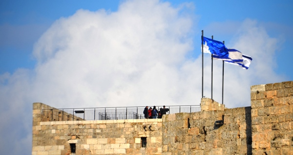 Tourists on top of Jerusalem Tower of David