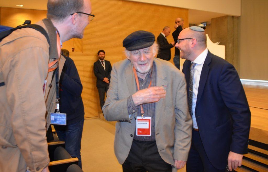 Walter Bingham at Yad Vashem telling his story of survival and success