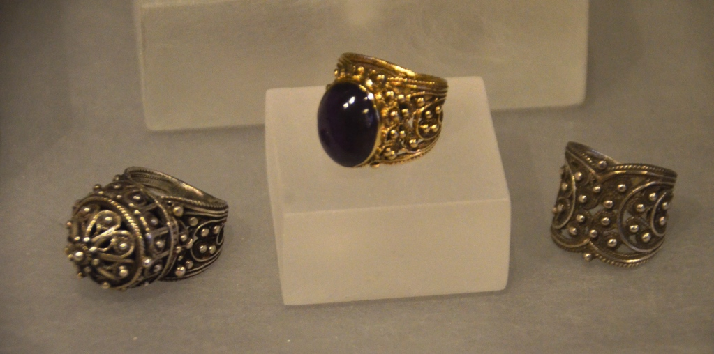 Three rings made by father of Batya Borowski iZacharia Jamil on display in the Bible Lands Museum exhibition Yemen