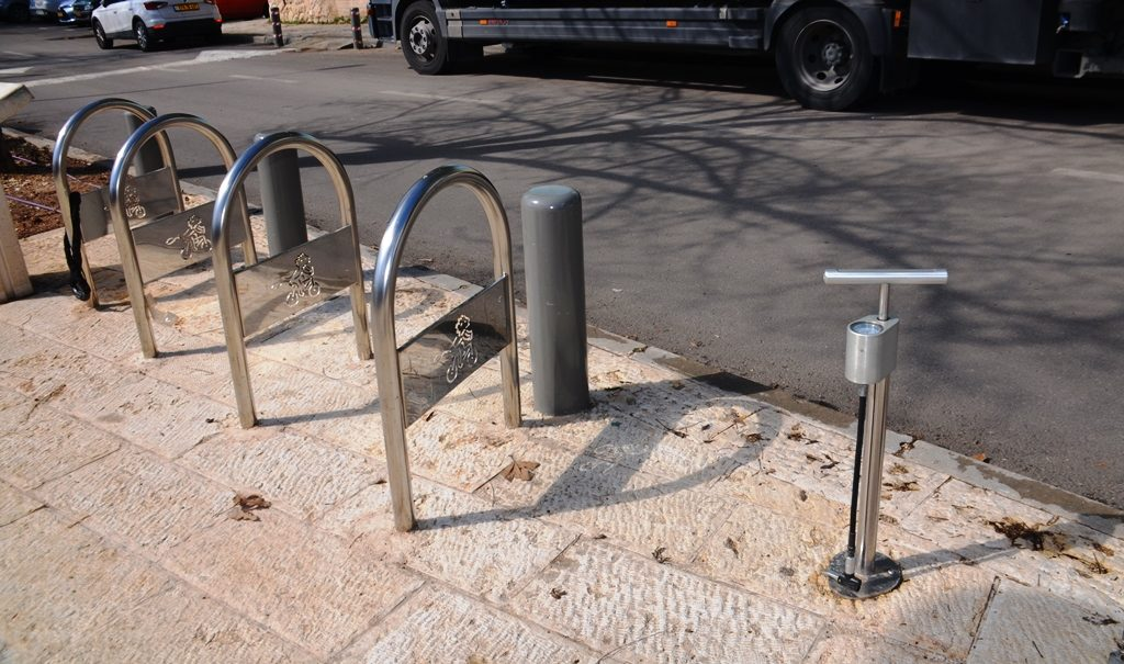 New bike path in Jerusalem Israel has a bike tire pump