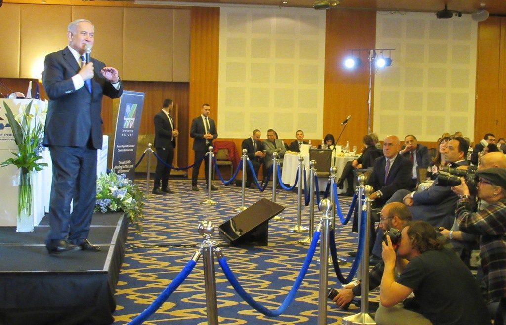 Prime Minister Benjamin Netanyahu speaking to Conference of Presidents at Inbal Hotel