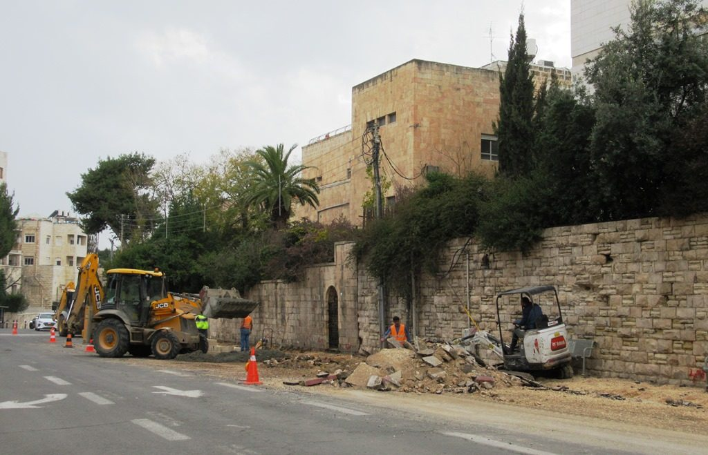 Street in Jerusalem with sidewalk torn up work
