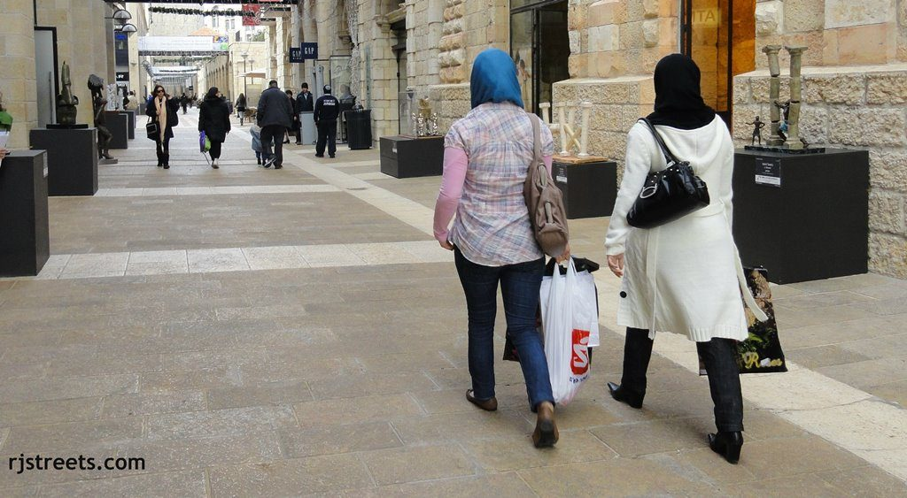 Muslim women shopping in Jerusalem Mamilla Mall