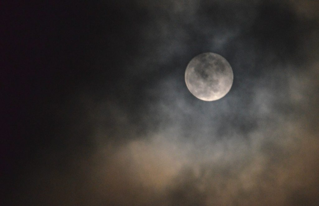 Cloudy night in Jerusalem Israel for super moon