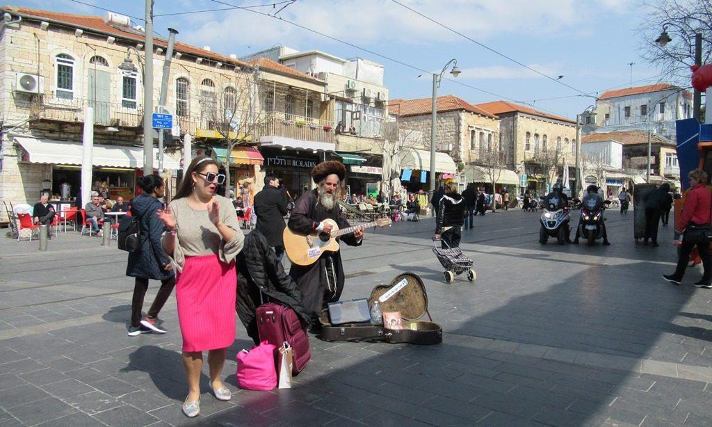 Jaffa Street near Market music and dancing on nice day