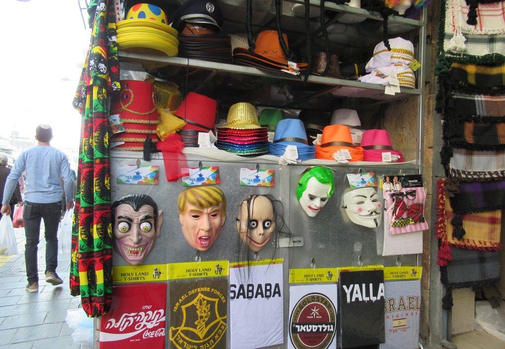 Purim costumes in the Jerusalem Israel shuk
