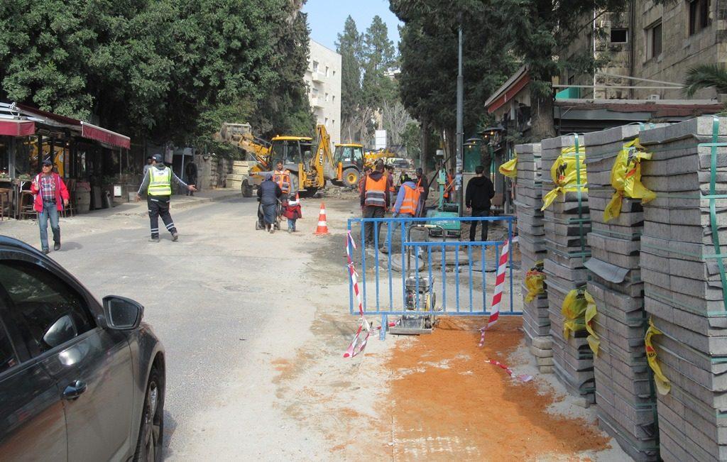 Azza Street in Jerusalem under repair
