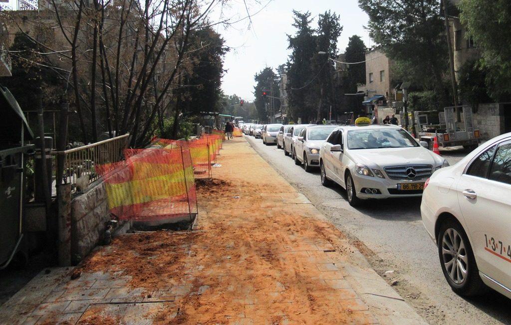 New sidewalk on Azza Street in Jerusalem Israel