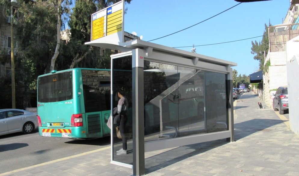 Bus stop in Jerusalem Israel