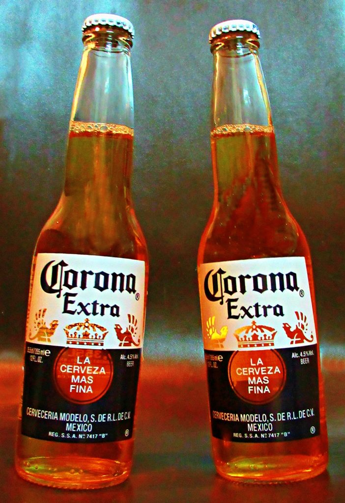 two bottles of Corona beer
