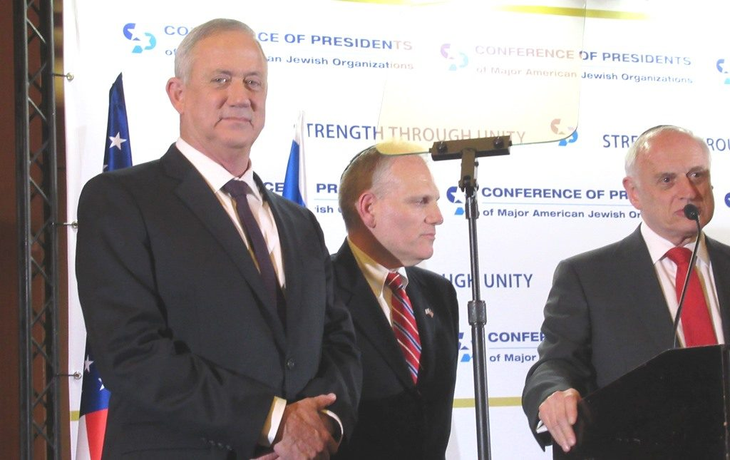 Benny Gantz speaker at Conference or Presidents with William Daroff and Malcolm Hoenlein