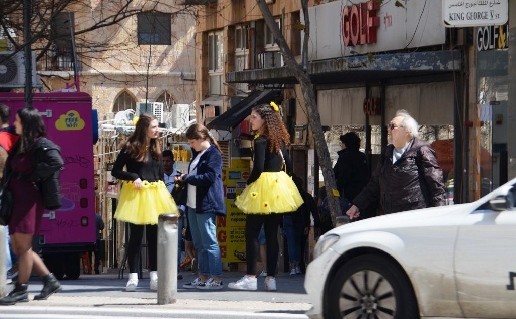 Purim costumes on King George Street in Jerusalem Israel