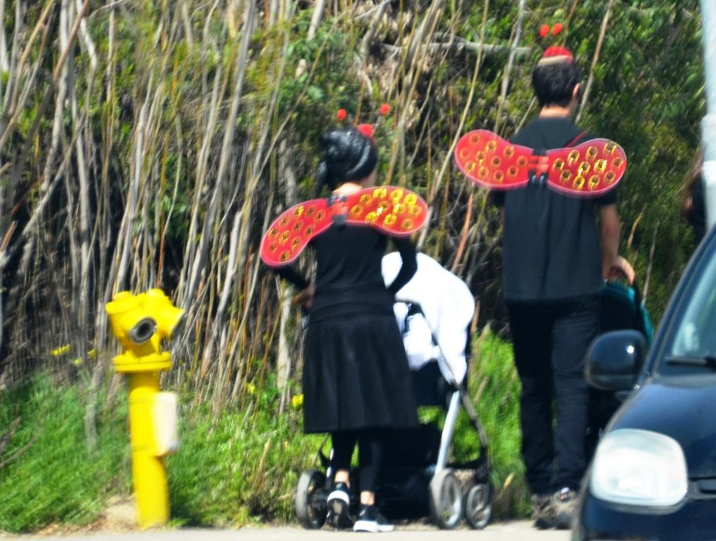 Jerusalem family walking in costume for Purim