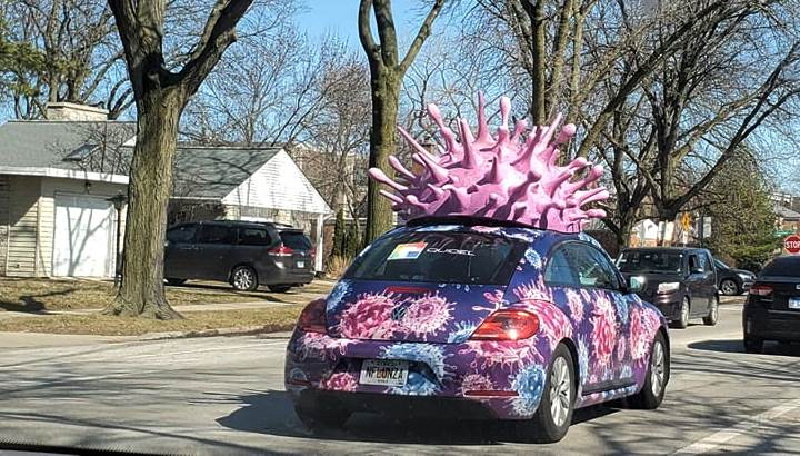 Car decorated as coronavirus on Purim in Chicago