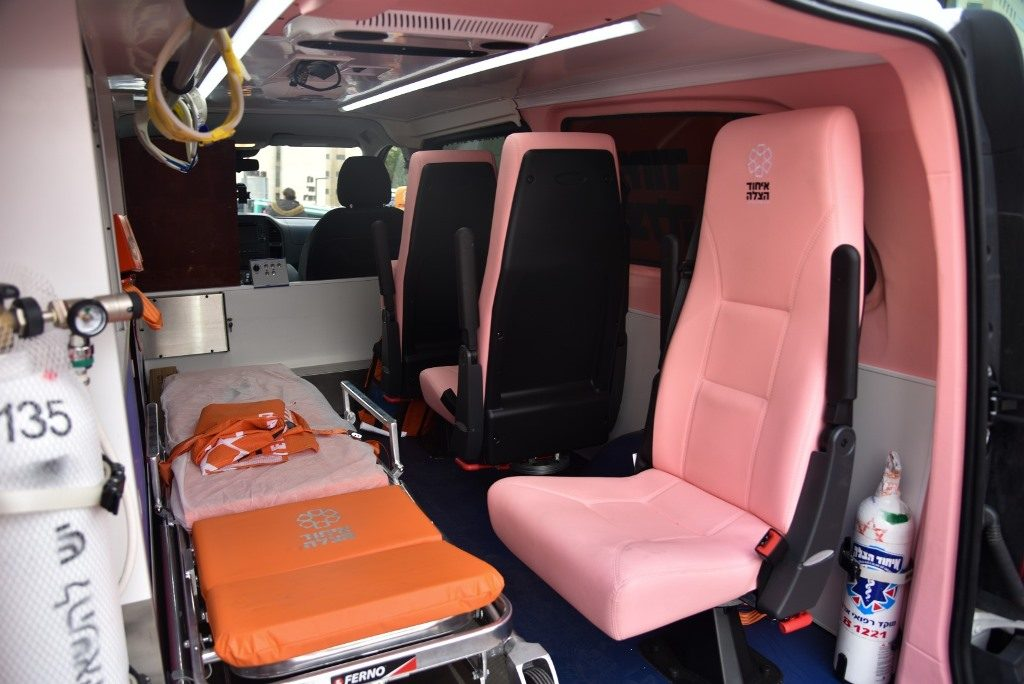 Inside of United Hatzalah pink ambulance