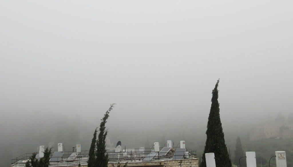 Jerusalem Israel fog thick no visibility