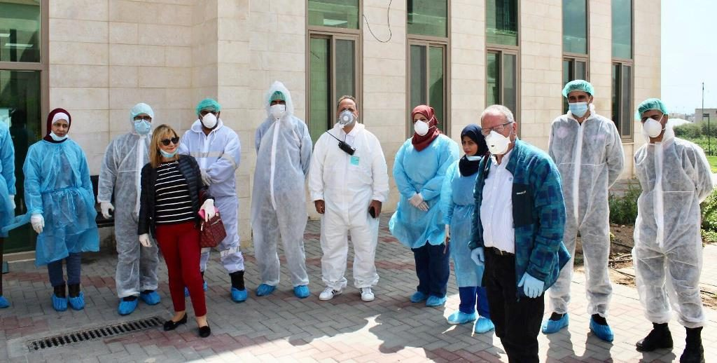 IDF Twitter image of Palestinian doctors training in Israel for coronavirus