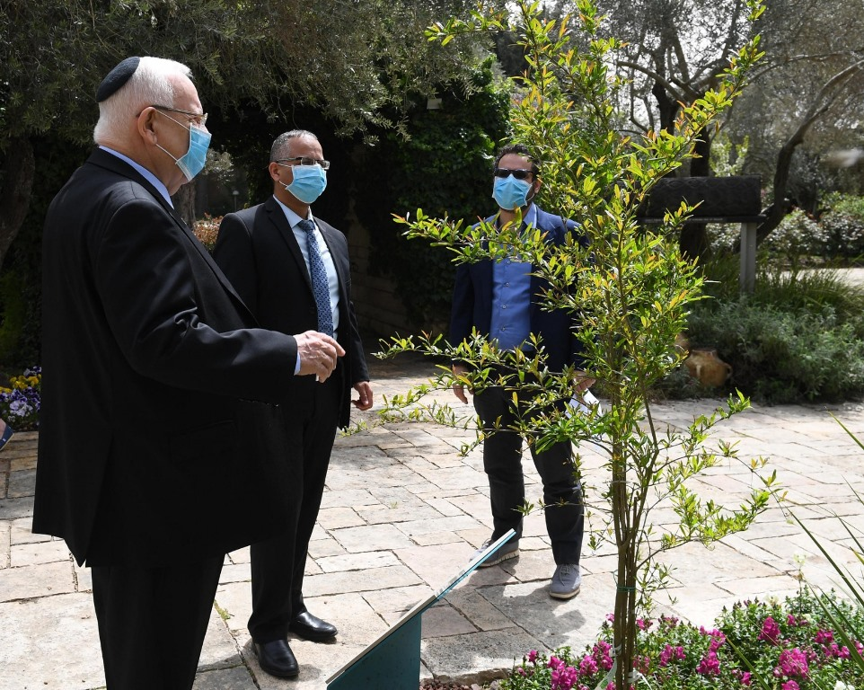 Israeli President Rivlin making blessing on trees in time of coronavirus at Beit Hanasi