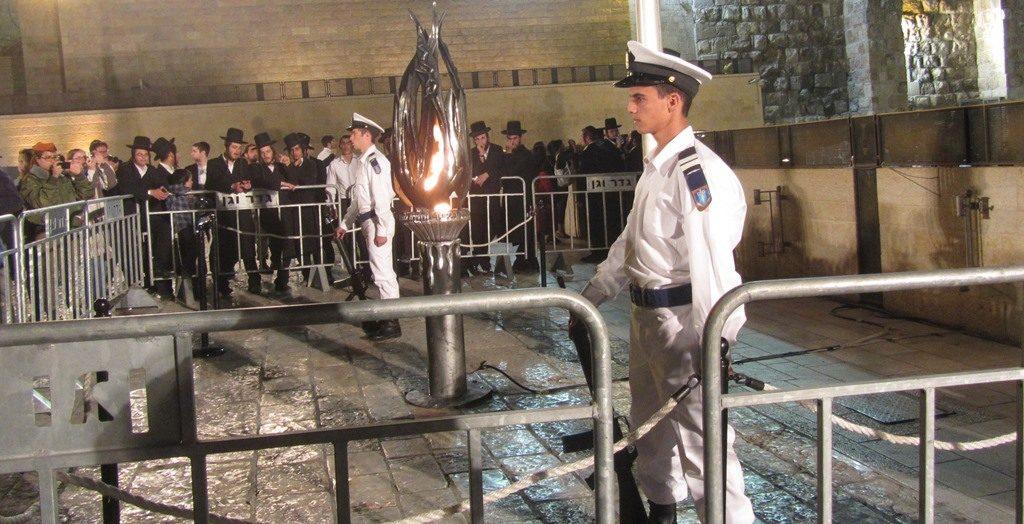 military guard at flame for Yom Hazikaron at Western Wall