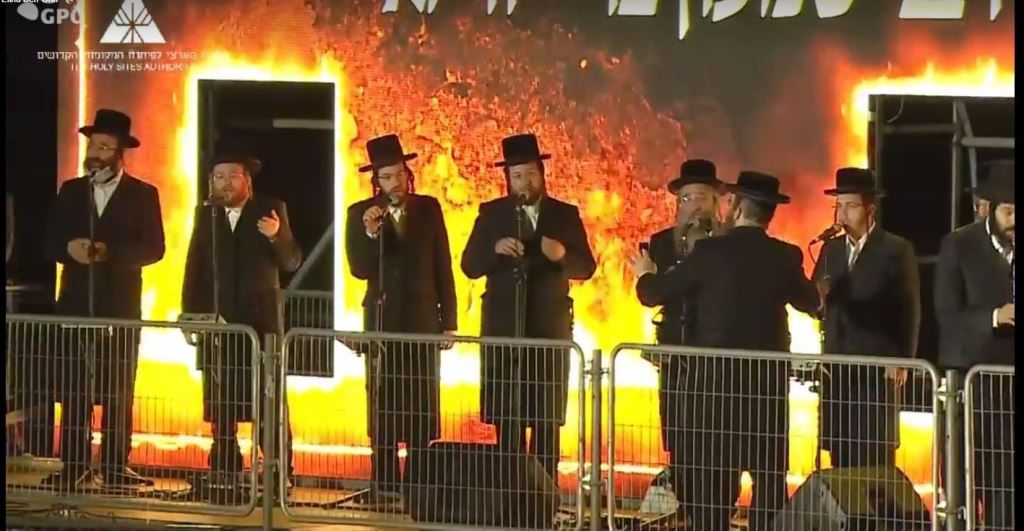 Singers on Lag B'Omer at Meron at night