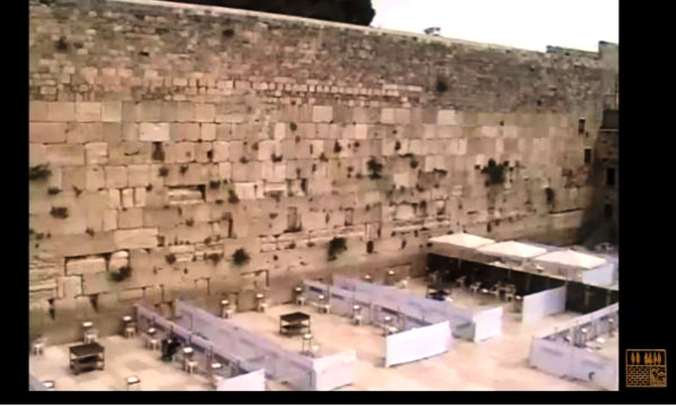 View of prayer plaza of Kotel divided for COVID-19 prayers