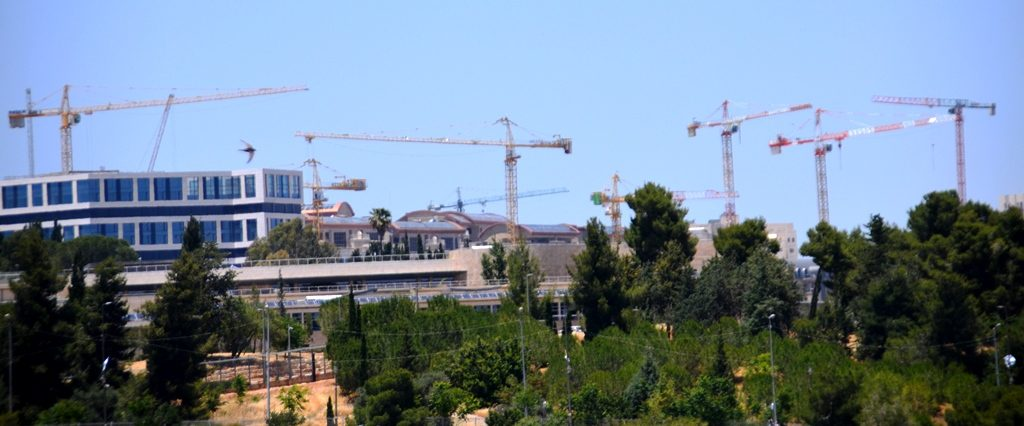 Jerusalem construction cranes visible over the Knesset