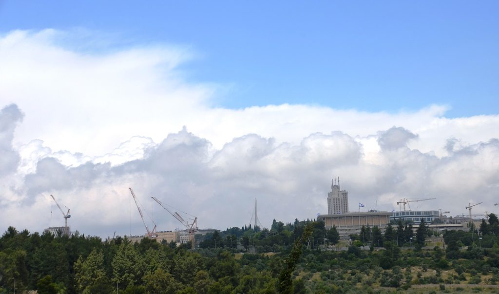 Jerusalem Israel cloudy sky in May
