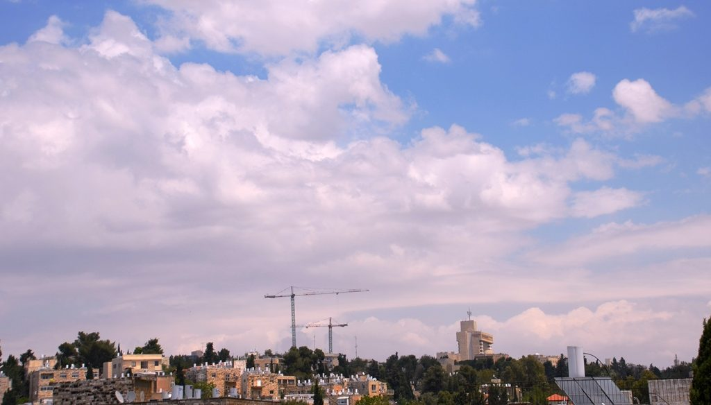 Jerusalem sky pink clouds