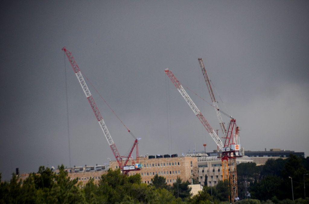 Dark grey sky over Jerusalem streets