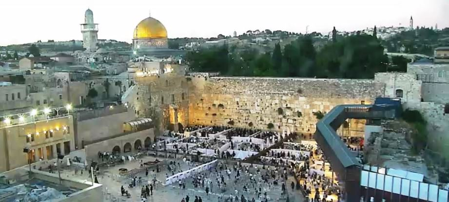 View of Kotel from webcam as evening as lights go on