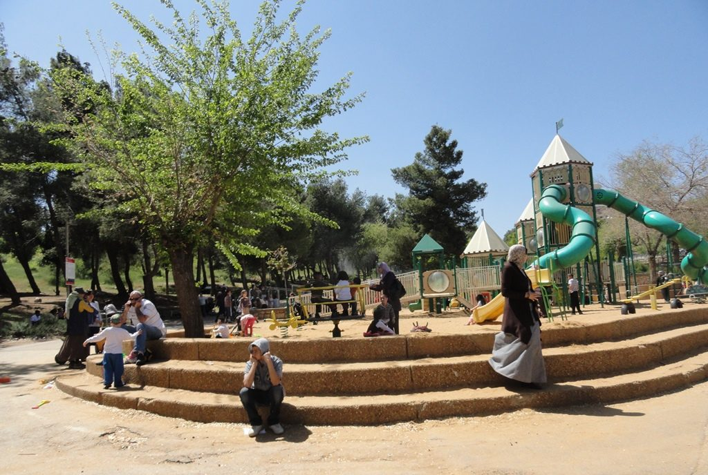 Sacher Park in Jerusalem play are with steps before renovation