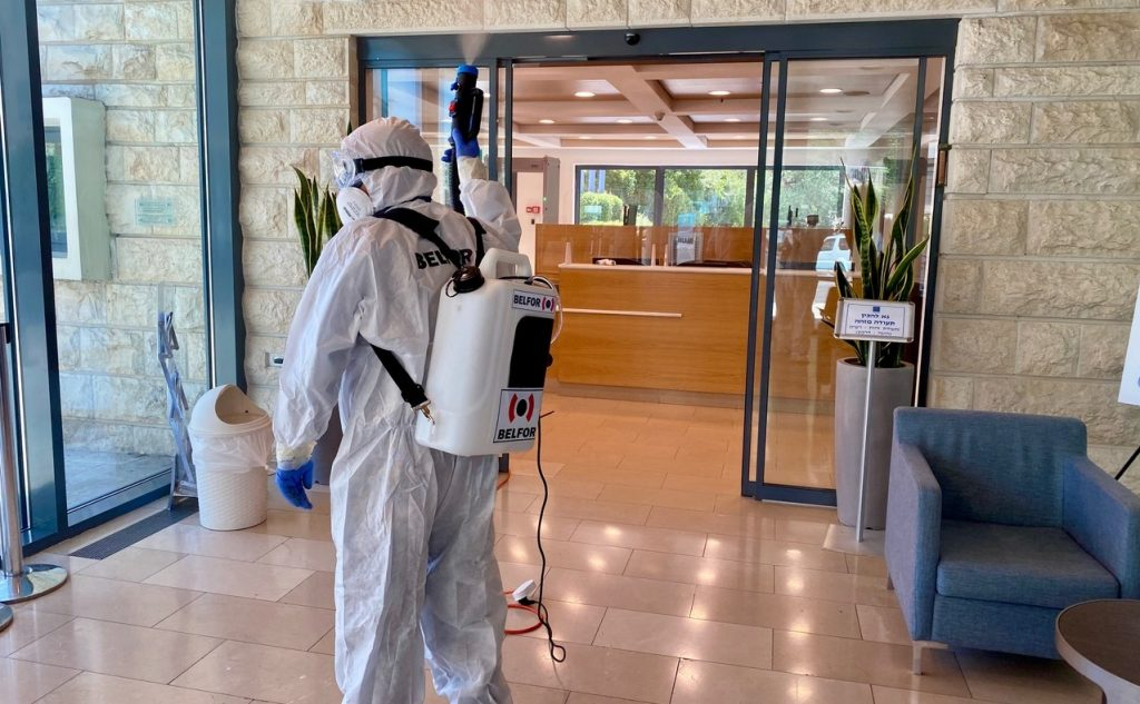 Visitor Entrance to Israeli president residence being disinfected for coronavirus