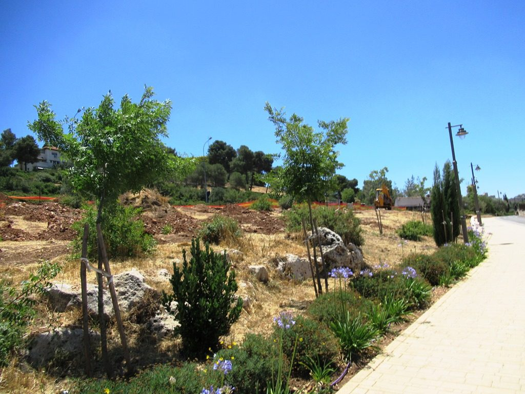 Road work along path in Valley of Cross in Jerusalem Israel