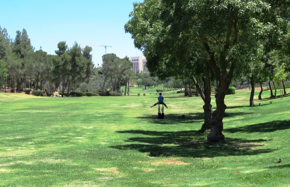 Jerusalem Sacher Park couple exercising