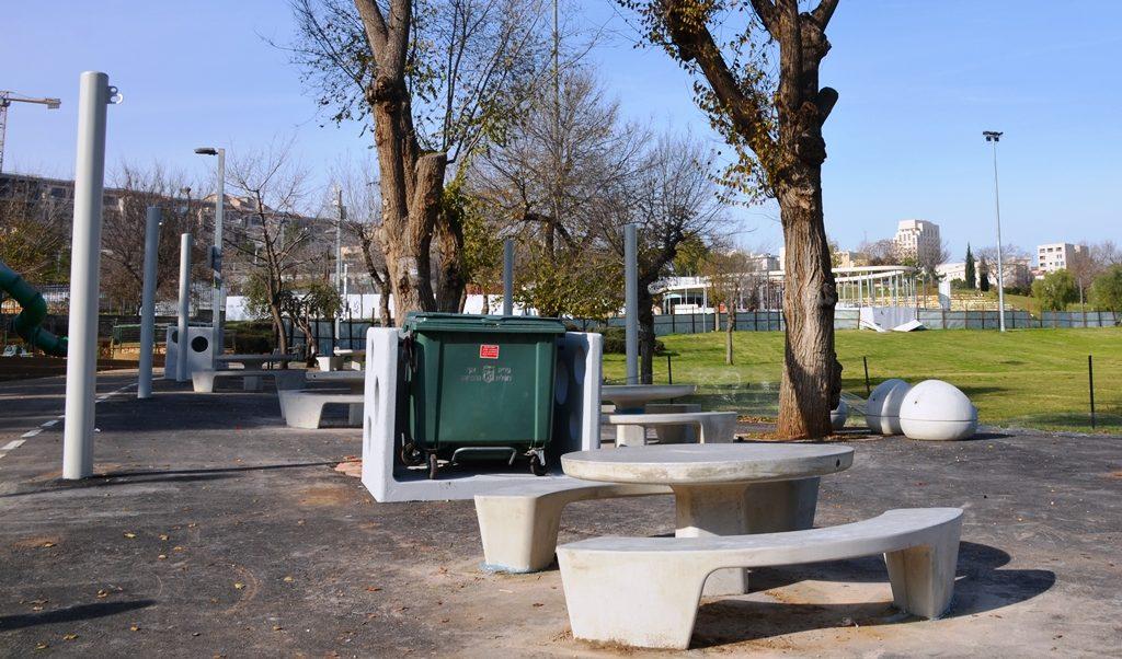 Jerusalem Israel Gan Sacher Park cement tables i