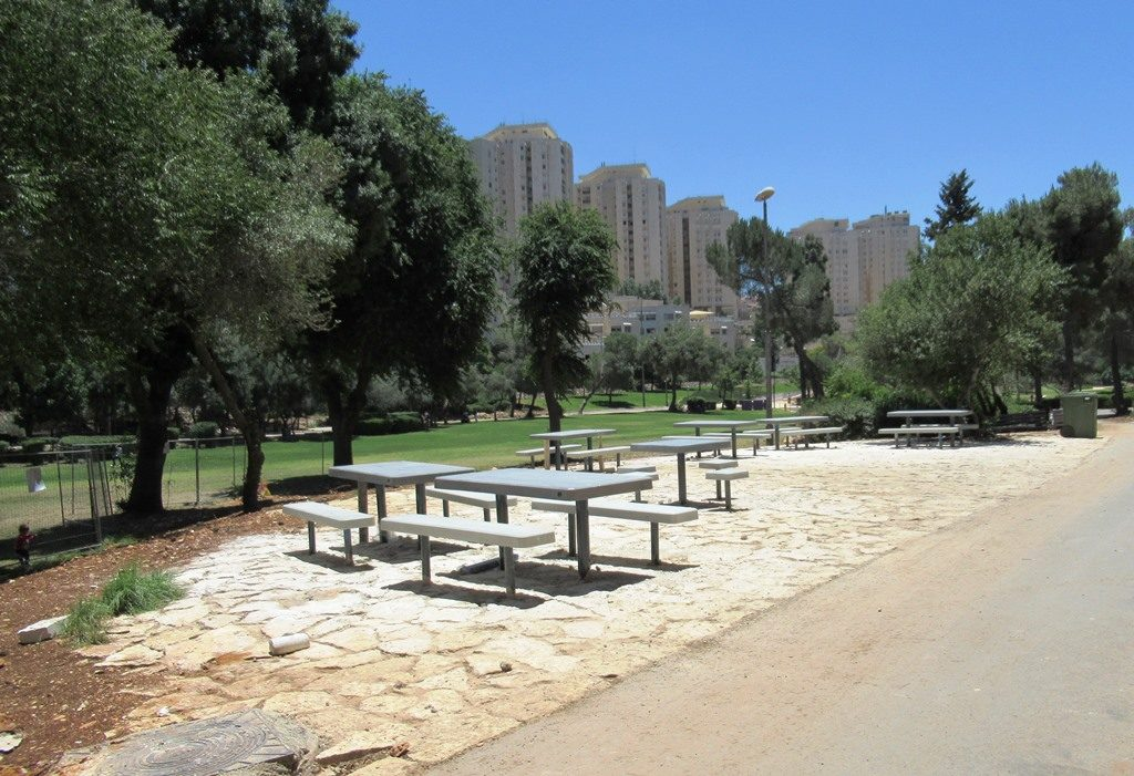 Jerusalem Israel new picnic tables in Sacher Park