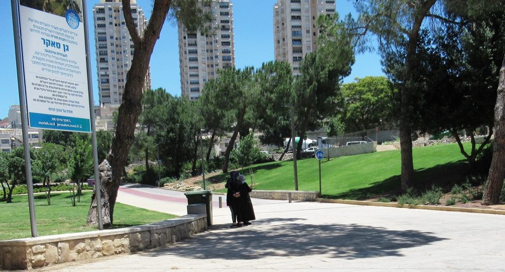 Two Muslim women stopping in Sacher Park to take selfies