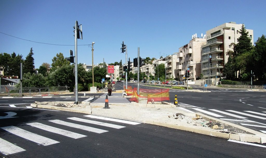 Herzog Street being repaired in Jerusalem Israel
