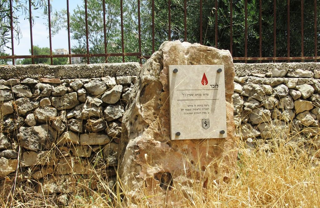 Prof Menahem Stern memorial in Valley of Cross murdered by terrorist in June 1989