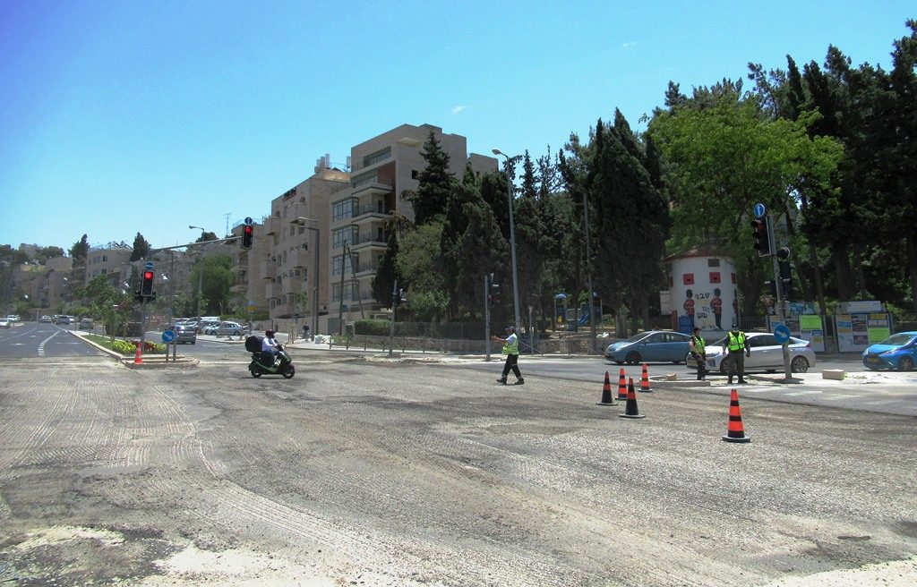 Jerusalem Israel street construction and traffic stopped