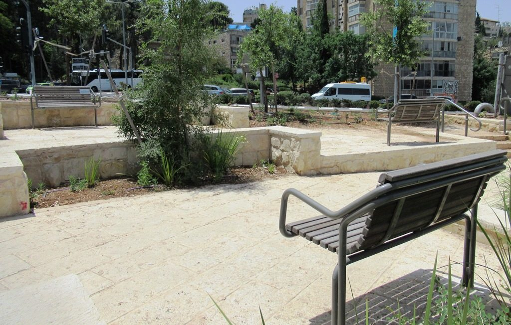 Park benches are social distanced in Jerusalem Israel
