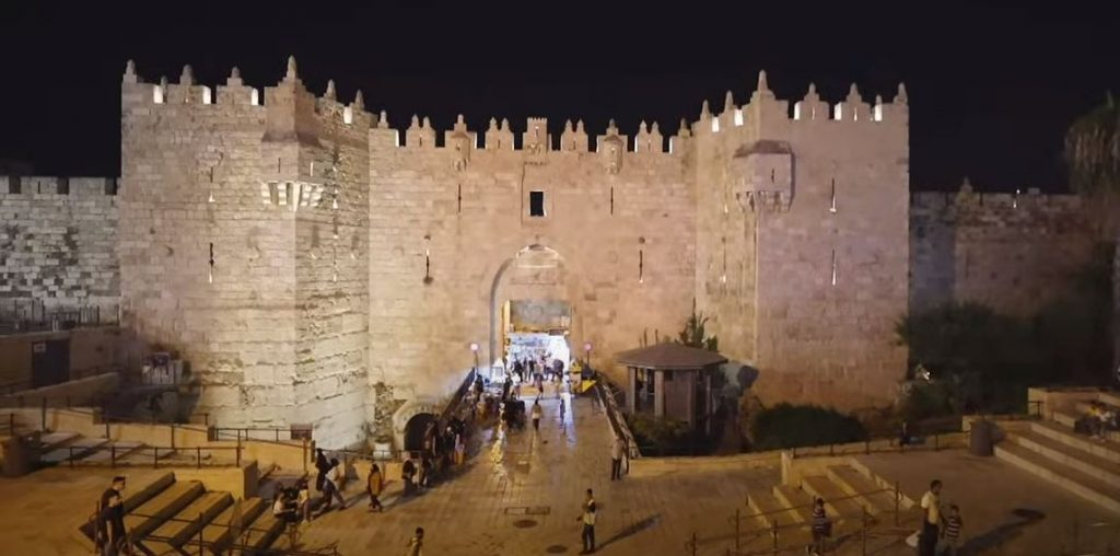 Jerusalem Damascus Gate at night