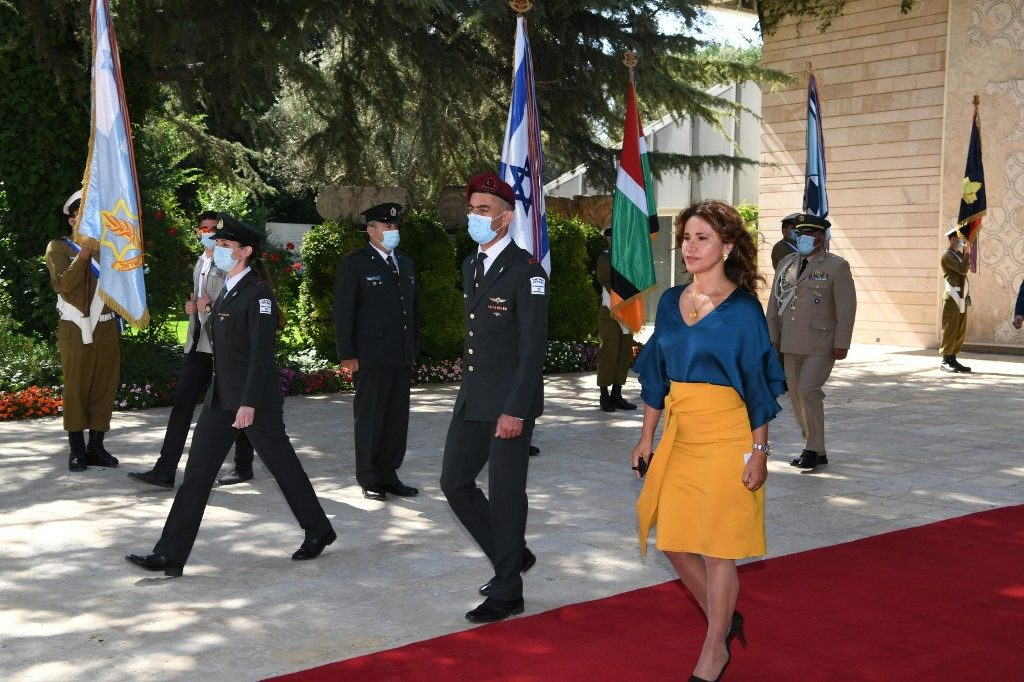 Jerusalem Ambassadors at Beit Hanasi pass honor guard reduced because of COVID-19