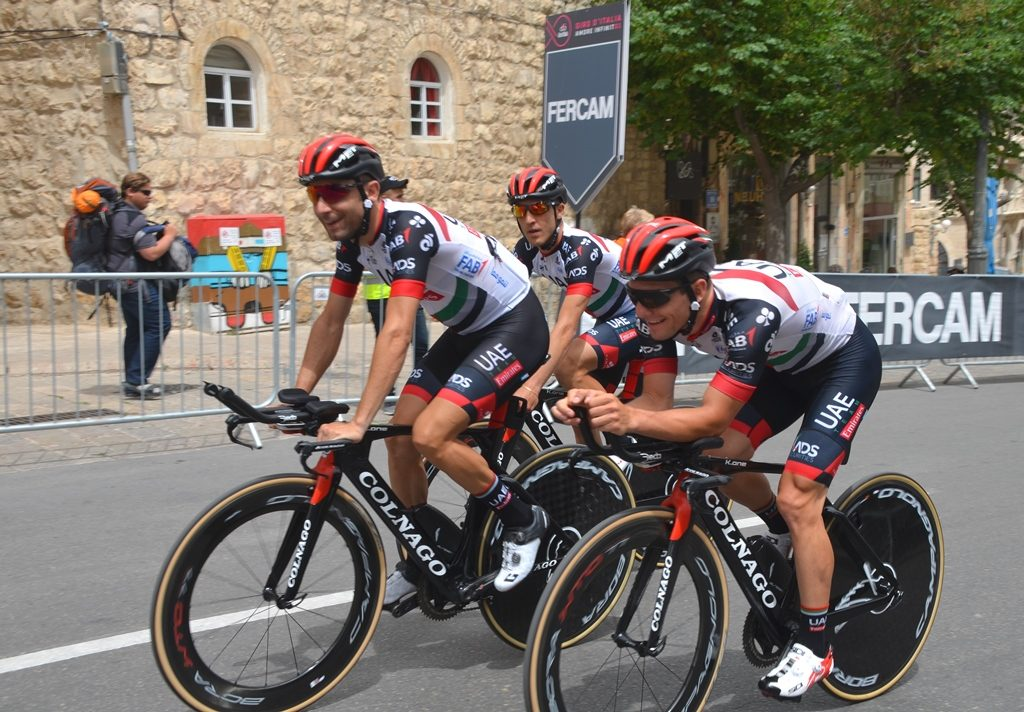 Cyclists from United Arab Emirates in Jerusalem for Giro d'Italia