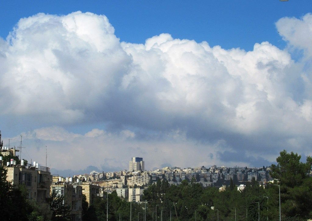 Clouds in sky over Jerusalem view toward Malha