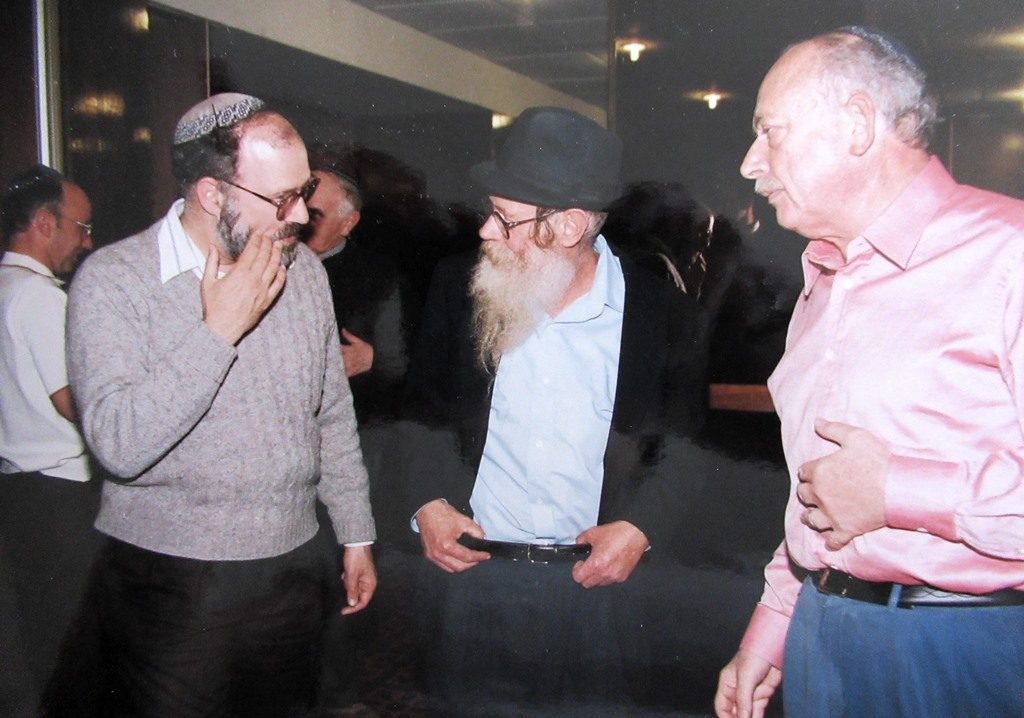 Rabbi Bill Altshul and Isi Leibler from Melbourne, Australia with Rabbi Steinsaltz in Jerusalem after a lecture